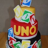 Uno Themed Cake For First Birthday The first birthday theme was UNO. It is a 3 tiered chocolate cake / chocolate mousse filling / chocolate frosting. The cake is covered with...