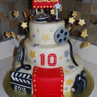 Hollywood 10Th Anniversary Cake This is an early cake I made for my children's elementary school's 10th anniversary. The theme throughout the school year for the...