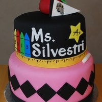 College Graduation / Teacher This cake was for a girl that graduated from college and is becoming an elementary school teacher. I incorporated her favorite colors -...