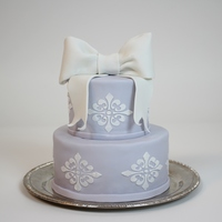 "4 On A 6 Stenciled Mmf Fondant Cake With Gumpaste Bow 4"" on a 6"" - stenciled, MMF fondant cake with gumpaste bow."