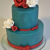 "6 X 4 Teal Buttercream Cake With Gumpaste Roses And Bows 6"" x 4"" teal buttercream cake with gumpaste roses and bows :)"