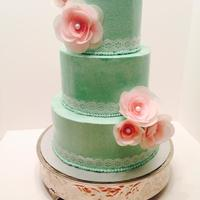 I Covered This Cake In Smbc And Decorated With Wafer Paper Lace And Flowers I covered this cake in SMBC and decorated with wafer paper lace and flowers