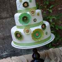 Whimsical Greens  Fun wedding cake for a bride that loves GREEN. :-) Sugar adornments made by hand with a gold trim. This was my first 3 tiered wedding cake...