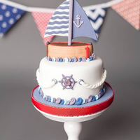 Sail Away ♥  Smash cake made for a sweetie turning 1. I had a lot of fun making this! All adornments are fondant. The boat is RKT with fondant sail and...