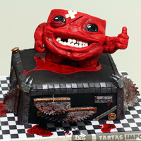 Super Meat Boy: Grade A+ Red velvet and cheese cream cake. Super Meat Boy is an arcade videogame. My little red boy is made with modelling chocolate. Thanks for...