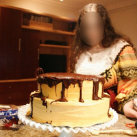 Spicy Halloween Cake. (sorry for the re-upload, but I had to blur my friend's face out) One of those times where I just got sick of decorating the cake and...