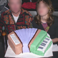 Accordion Cake! My first fondant covered cake ever, and made for an anniversary for my accordion orchestra. Depressingly, hardly any of it got eaten...