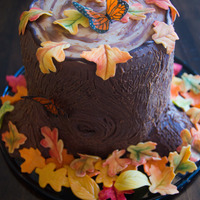 My First Tree Stump Cake Sweet And Salty Millionaires Cake Covered In Chocolate Ganache With Gumpaste Leaves And Rice Paper Butterflies My first tree stump cake. Sweet and salty millionaire's cake covered in chocolate ganache with gumpaste leaves and rice paper...