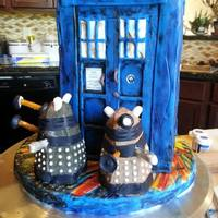 Battle Worn Tardis Fights The Daleks Chocolate Cake Covered In Modeling Chocolate With Mini Cupcake Daleks Battle-worn Tardis fights the Daleks . . . chocolate cake covered in modeling chocolate with mini cupcake Daleks