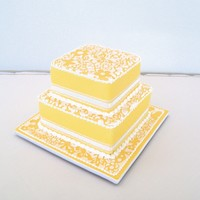 Sunshine Yellow. Royal icing stencilling detail . Passionfruit mudcake.