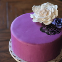 60Th Birthday Cake Painted wild rose, with sugar roses. Corgi Custom Cakes