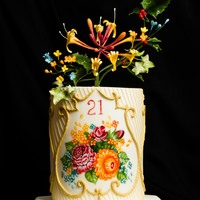 21St Birthday Cake Inspired By Russian Zhostovo Trays The Central Panel Is Handpainted And Is Framed By Gold Royal Icing On The Top Is 21st birthday cake, inspired by Russian Zhostovo trays. The central panel is handpainted, and is framed by gold royal icing. On the top is...