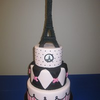 Paris In Pink All fondant with royal icing Eiffel Tower.
