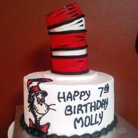 Cat In The Hat Cat in the Hat is and edible image with black buttercream over-piping. Hat cake is covered in fondant.