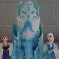 Frozen Ice Castle Cake Disney Frozen Castle Cake and fondant Elsa and Anna I made for my girl's birthday.