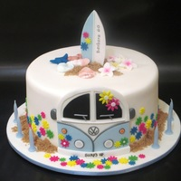 60Th Birthday Cake For A Former Hippy - She Still Surfs Every Day
