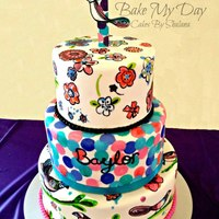 Hand Painted Larkspur Themed Birthday Cake Hand painted larkspur themed birthday cake