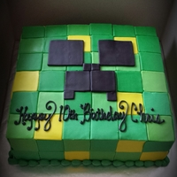 Creeper  My son's minecraft cake. I did everything in less than a day and I think that was a bad idea. Next time i wont use a cutter for the...