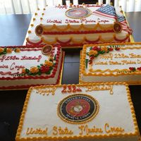Marine Corps 238Th Birthday   Marine Corps Birthday Ball Cake! Total of 4 cakes but the bigger one in the back was the main ceremony cake!