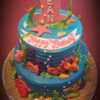 Ocean Themed Cake For A Little Girl Named Ocean   Ocean themed cake for a little girl named Ocean!