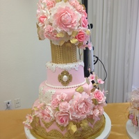 I Made This Cake For My Niece Who Just Turned 18 Over The Weekend Her Theme Was Vintage Pink And Gold Sugar Flowers Were A Combination O I made this cake for my niece who just turned 18 over the weekend. Her theme was vintage pink and gold. Sugar flowers were a combination of...