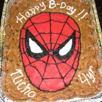 Spiderman Cookie Cake my easy way out for bithdays when I don't have time to make a cake from scratch.