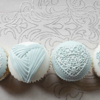 Pastel Blue & White Birthday Cupcakes! X