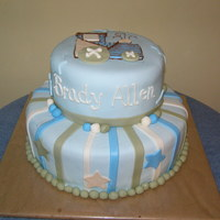 Baby Boy Train Cake All fondant. This cake matched the shower decorations