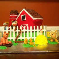 Barn Birthday Cake Everything Is Edible Except Is The Gate And The Goofy Figure Animals Are All Using Wiltons Shape N Amaze The Barn Is Barn birthday cake - Everything is edible except is the gate and the goofy figure. Animals are all using wilton's shape-n-amaze. The...