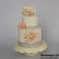 Wedding Cake Peach bling Wedding cake with open peony flower