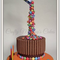 Gravity Defying Smarties Simple design, chocolate finger biscuits and smarties.