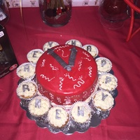 New Years Eve Cake Covered In Red Fondant new years eve cake / covered in red fondant