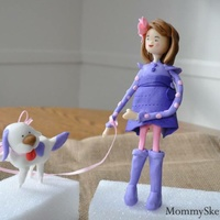 A Girl And Her Dog. My First 3D Sugar Sculpture. Girl and her dog topper