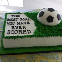 Scored Chocolate grooms cake and rice krispie treat soccer ball. The mob sent me a picture so I am not sure who the original designer was. This...