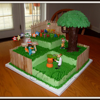 Phineas & Ferb Birthday Cake Phineas & Ferb Birthday Cake. An 18 x 18 square cake, built out of 9in square layers. Decorated in buttercream and accented with toys....
