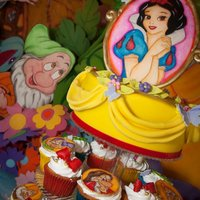 Snow White all the characters are hand painted. Everyting is edible, except for the red velvet ribbon