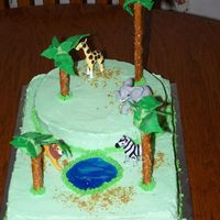 000_1395.jpg My son wanted an animal cake so this is what I did. My poor trees were falling apart, I had to keep adding more icicng to hold them on and...