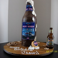 "Beer Bottle Cake This cake was a challenge for me! It was my tallest cake to date, standing 19"" tall and measuring 6"" in diameter. (regular-sized..."