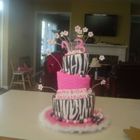 Zebra Topsy Turvy Cake This was my first Topsy Turvy cake that actually survived! buttercream with fondant accents