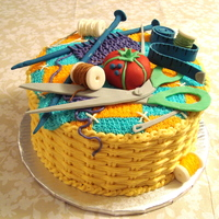 Sewing Basket Cake  Basketweave is done in buttercream and the sewing accessories are fondant. I made this cake for a 10th anniversary celebration of a...