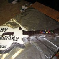 Guitar Hero Cake  This was my very first start to finish cake. I made a template from my son's Wii Guitar Hero guitar and cut the cake out. Then I made...