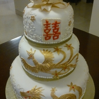 Double Happiness Cake Chinese Symbols of Happy Marriage Dragon and Phoenix, Double Happiness and the Lotus. Cherry Blossom.. symbol of love
