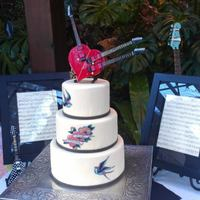 My Cakes *Tattoo Rocker Cake. Steve Vai triple neck guitar on top.