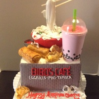 Pho Noodle Cake Eggrolls And Bowl Sculpted From Rice Krispy Treats Gumpaste Cup Pho noodle cake. Eggrolls and bowl sculpted from rice krispy treats, gumpaste cup.