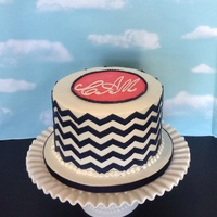 Buttercream Cake With Fondant Chevron Stripes Buttercream cake with fondant chevron stripes.