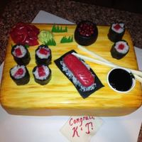 Sushi Table Cake Engagement party cake. Son proposed where they had their first date--sushi! :) The cake is carrot cake with cream cheese buttercream...