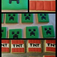 Mine Craft Cookies   TNT and creeper from minecraft