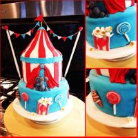 Circus Tent Cake Circus tent cake with fondant elephant and bunting
