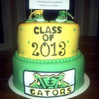 Gator High School Graduation Cake High School graduation cake. Gators mascot. The cake was for 2 graduates- 1 girl gator topper & 1 boy gator topper.