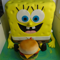 Spongebob With Krabby Patty Spongebob cake. 2 internal tiers. Krabby Patty made from cake.